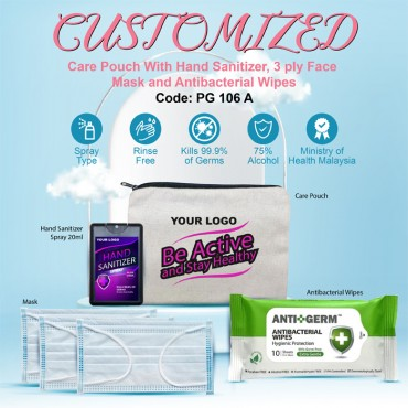 CUSTOMIZED Care Pouch With Hand Sanitizer, 3 ply Face Mask and Antibacterial Wipes